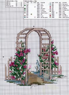 """Trellis ~ Paula Vaughan's Rose Garden"" cross stitch design by Paula Vaughan. 5 of 6"
