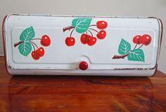 Vintage Enamel Metal Bread Box Retro Cherries by FiorellaVintage