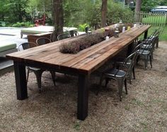Reclaimed Wood Outdoor Furniture Rustic Tables Intended For Elegant House Patio Dining Table Plan
