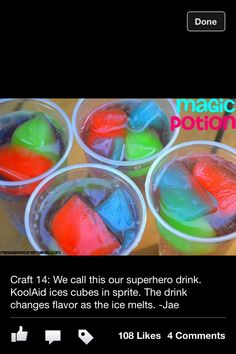 My Sprite- & Kool-Aid-loving kids would love this! Make Kool-Aid ice cubes, put in Sprite. Flavor & color changes as the cubes melt! Kool Aid, Brownie Desserts, Fun Drinks, Yummy Drinks, Beverages, Colorful Drinks, Party Drinks, Rainbow Drinks, Liquor Drinks