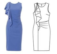 V-Neck Decorative Button Plain Bodycon Dress Dress Sewing Patterns, Clothing Patterns, Burda Patterns, Fashion 2017, Fashion Dresses, Fashion Trends, Fashion Design Sketches, Sketch Fashion, Fashion Designers