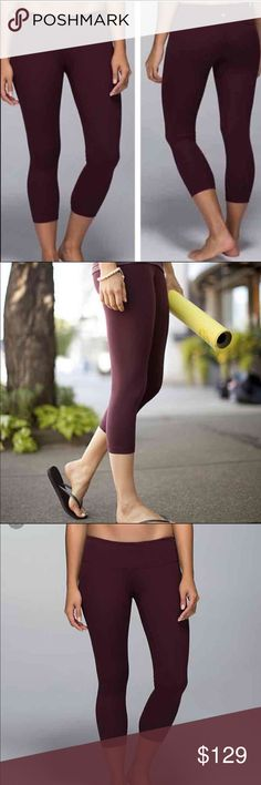 Lululemon WU Crop Bordeaux Drama Lululemon Wunder Under Crop size 6, NWOT, no pilling or signs of wear. Sold out in stores and a great addition to any closet! Needs a home where it will be loved and used! lululemon athletica Pants Leggings