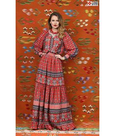 Iina Rochie Lunga Boemian Stilizata cu Motive Etnice Geometrice 360lei Day Dresses, Dresses With Sleeves, Fashion Photography, Style Inspiration, Boho, My Style, Long Sleeve, Clothes, Geometry