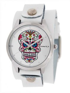 Nemesis WGB925S Womens White Wide Leather Band With Tatto Skull Watch * More info could be found at the image url.Note:It is affiliate link to Amazon. #follower