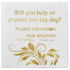 Gold foil scroll leaf hashtag floral wedding paper napkin with Instagram hashtag. #papernapkin, #hashtag, #Instagramhashtag, goldfoil, #wedding