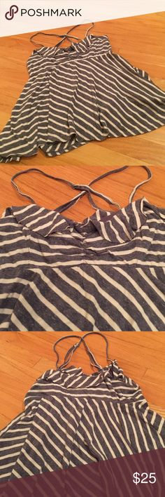 Free People stripe supersoft stretchy Cotton blend Ruffle top Ruched camisole with rough cut hem edges in super soft T-shirt material Free People Tops Camisoles