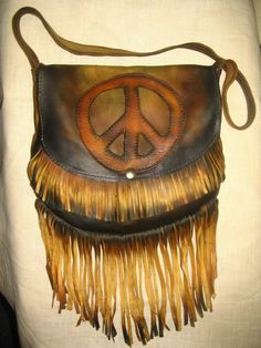Vintage Style Hand Made Peace Sign Purse in Distress by dleather, $169.95