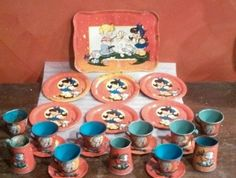 Ohio Art #143 1949 Tin Litho Childs Tea Set Boy Girl Kitten Tray Cups Plates Old #OhioArt