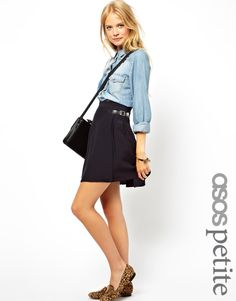 ASOS Wrap Kilt Skirt, chambray shirt, and leopard print loafers.