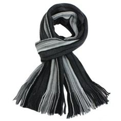 100% Acrylic Men's Colorful Stripes Tassel Ends Knitted Long Scarf - Gray Dahlia. $19.45