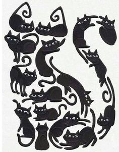 Cat o' cats silhouette of a black cat made up of multiple #CatSilhouette