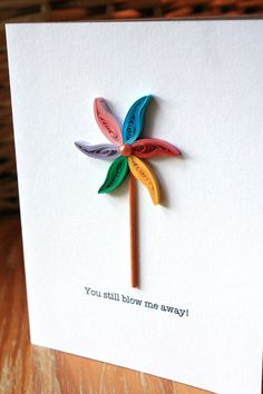 Pinwheel Card - Unique Anniversary Card - Love - Marriage. $6.00, via Etsy.