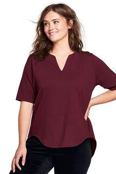 6025458cc2744 Lands  End Women s Plus Size Split Neck Long Top-Deep Garnet
