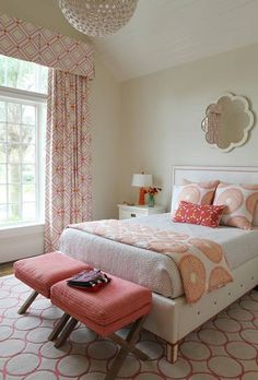 love the corals accents in this bedroom Andrew Howard-Traditional Home