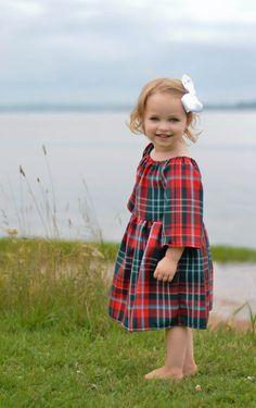 Scottish tartan plaid red and green new brunswick peasant dress for