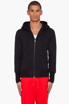 Y-3 Black Luxe Zip Up Sweatshirt for men | SSENSE