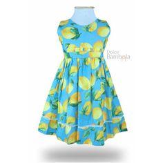 Vestido infantil azul limão siciliano