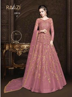 7b2cad2e80 Rama Fashions Raazi Aroos 10016 Colors Net Anarkali Heavy Embroidery Party  Wear Floor Length Bridal Wedding Attractive Branded Dress with Net Dupatta  ...