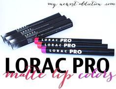 LORAC #PRO Matte Lip Color in Coral, Fuchsia, and Violet.