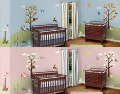 Forest Theme Wall Stencil Kit for Girls Room, Boy Room, Baby Nursery - Modern Baby Nursery Themes, Baby Boy Rooms, Room Baby, Nursery Ideas, Owl Nursery, Animal Nursery, Baby Decor, Kids Decor, Kids Rooms