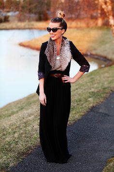 <3 Faux Fur, Maxi Skirt, Belt, Bun, Sunnies