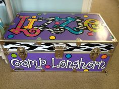 Items similar to Personalized Hand-painted camp trunk on Etsy Scout Camping, Camping Life, Camping With Kids, Kids Camp, Camping Packing, Camping Gear, Painted Trunk, Hand Painted, Camp Trunks