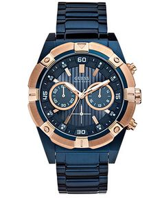 GUESS Men's Chronograph Blue-Tone Stainless Steel Bracelet Watch 44mm U0377G4 - Men's Watches - Jewelry & Watches - Macy's