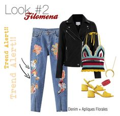 A fashion look from May 2017 featuring knit crop top, leather jackets and embroidered jeans. Browse and shop related looks. Embroidered Jeans, Look Fashion, Valentino, Leather Jacket, Crop Tops, Denim, Polyvore, Jackets, Stuff To Buy