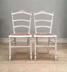 Pair of Old French Louis XVI style cane chairs / painted simple white / Frenchfinds.co.uk