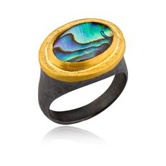 Abalone, 22 karat yellow gold and oxidized sterling silver.