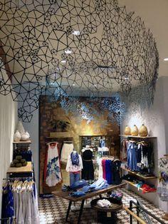 Interior store display. Anthropologie. Boston 2012. Marni Elyse Katz photo. Pentagons divided into triangles.