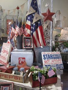 vintage americana display via Dogwood designs She is one of my favorite vendors in my favorite shop!