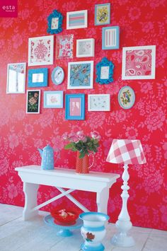 wallpaper flowers red & pink collection Belle Rose #estahome.nl #behang