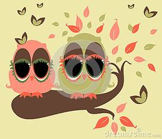 Illustration of whimsical owls on  a tree branch.
