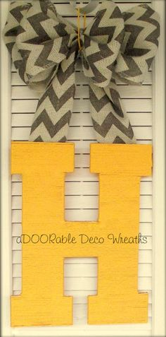 Initial Door Hanger. I love the patterned burlap and solid letter! So simple to make!