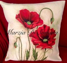 Cushion Embroidery, Silk Ribbon Embroidery, Hand Embroidery, Floral Pillows, Decorative Pillows, Designer Bed Sheets, Bird Seed Ornaments, Fabric Paint Designs, Cushion Cover Designs
