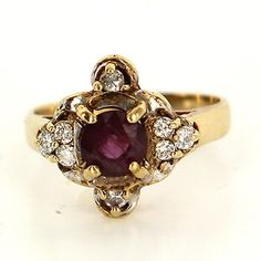 Vintage 14 Karat Yellow Gold Ruby Diamond Cocktail Ring Fine Estate Jewelry Used $439