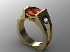 Ring | Harry Roa.  'Kismet'.  14k yellow gold, Madera Citrine, Diamond.