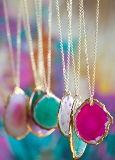 colorful gem slice pendants