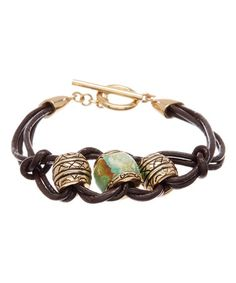 Another great find on #zulily! Turquoise & Bronze Leather Bracelet #zulilyfinds