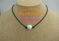 Big Coin pearl,12-14mm,Leather Pearl Choker, Pearl Leather Necklace, White Freshwater pearl,Black Leather Pearl necklace, BROWN,LIGHT BROWN