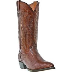 """Dan Post Mens Tan Lizard Skin Raleigh R Toe 13"""""""" Cowboy Boots"""