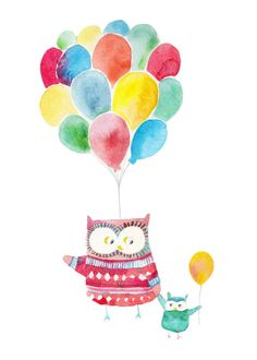Felicity French - Felicity French owls and balloons.jpg