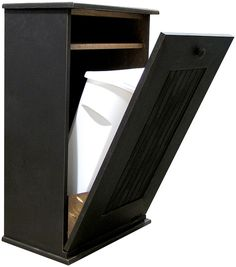 Tilt trash for a tiny house. Use a re-purposed cabinet, the enclosed shelf for trash bag storage, butcher block on the top and add a towel bar to the side. Could also make a great dog food storage bin in a pantry. Pine Furniture, Furniture Dolly, Home Decor Furniture, Kitchen Furniture, Furniture Ideas, Furniture Stores, Cheap Furniture, Dog Food Storage, Bag Storage