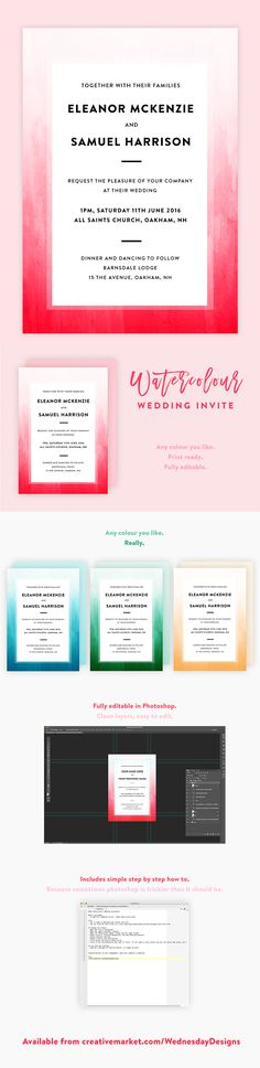 Ombre Watercolour Wedding Invite PSD Template - so pretty! Diy Wedding Invitations Templates, Simple Wedding Invitations, Watercolor Wedding Invitations, Invites, Text Fonts, Photoshop Elements, Simple Weddings, I Am Happy, Psd Templates