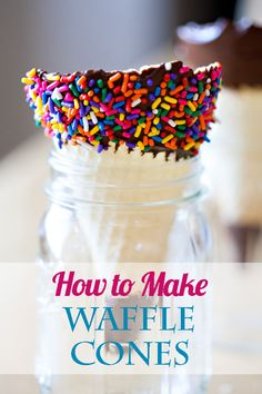 How to Make Waffle Cones. Everybody loves ice cream, but you can make it even better when you pair it with these fun waffle cones you can make yourself! Learn how to make these cones for your next party! How to make ice cream cones. Ice cream cone recipe. Waffle cone recipe.
