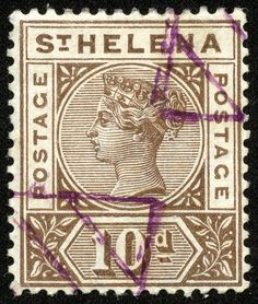 """Helena 1896 Scott 46 brown """"Queen Victoria"""" Diamonds in purple ink is a 1905 Remainder cancellation Crown Colony, East India Company, St Helena, Vintage Stamps, King George, Queen Victoria, Empire, Victorian, African"""