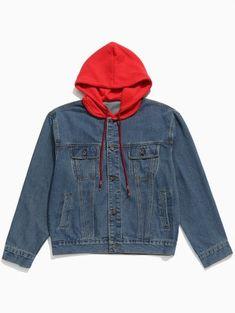 6ac00aa5565d  41.61 - Hood Patchwork Casual Denim Jacket - Denim Dark Blue - Denim Dark Blue  L