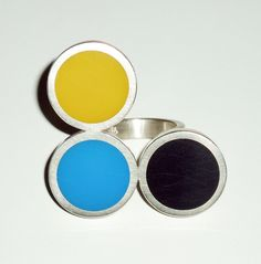 ring 'yellow-blue-black', silver, acrylic glass