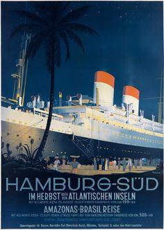 Poster Print Wall Art Print entitled Hamburg to America,Vintage Poster, by Ottomar Anton Vintage Travel Posters, Vintage Ads, Vintage London, Photo Deco, Equador, Ad Art, Ship Art, Anton, Cruises